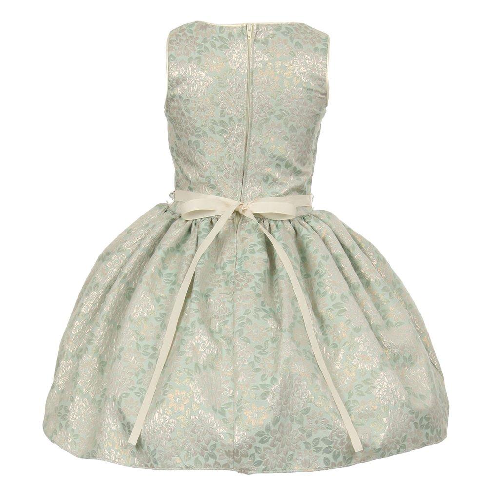 6e1b8adf9 Amazon.com: Big Girls Sage Jacquard Shiny Print Beaded Belt Flower Girl  Dress: Clothing