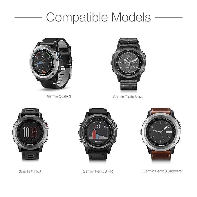 TUSITA Cargador para Garmin Fenix 3, Fenix 3 Sapphire, Fenix 3 HR, Quatix 3, Tactix Bravo Smartwatch - Cable de carga USB Clip 100cm - Accesorios para ...