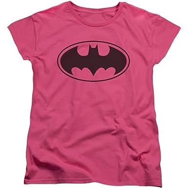 Amazon Batman Symbol Classic Womens Pink T Shirt Clothing
