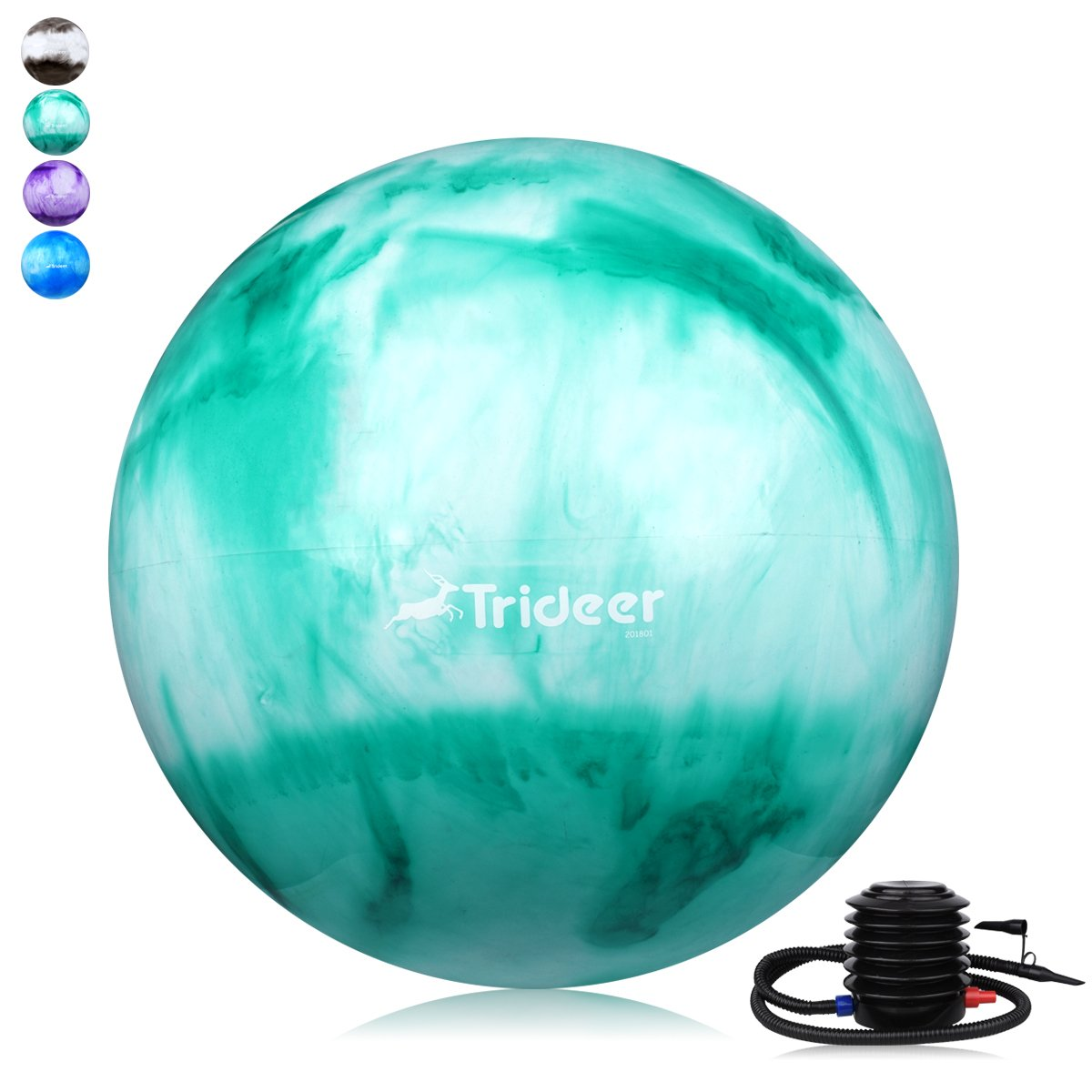 Trideer Exercise Ball (45-85cm) EXTRA THICK Yoga Ball Chair, Anti-Burst Heavy Duty Stability Ball Supports 2200lbs, Birthing Ball Quick Pump (Office & Home & Gym) (Green&White, 75cm)