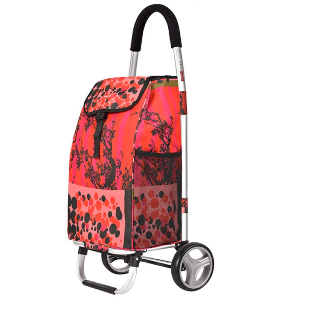 ZfgG Fashion Portable Folding Trolley car Waterproof Shopping Bag Large Capacity Thick Steel Pipe MXueei