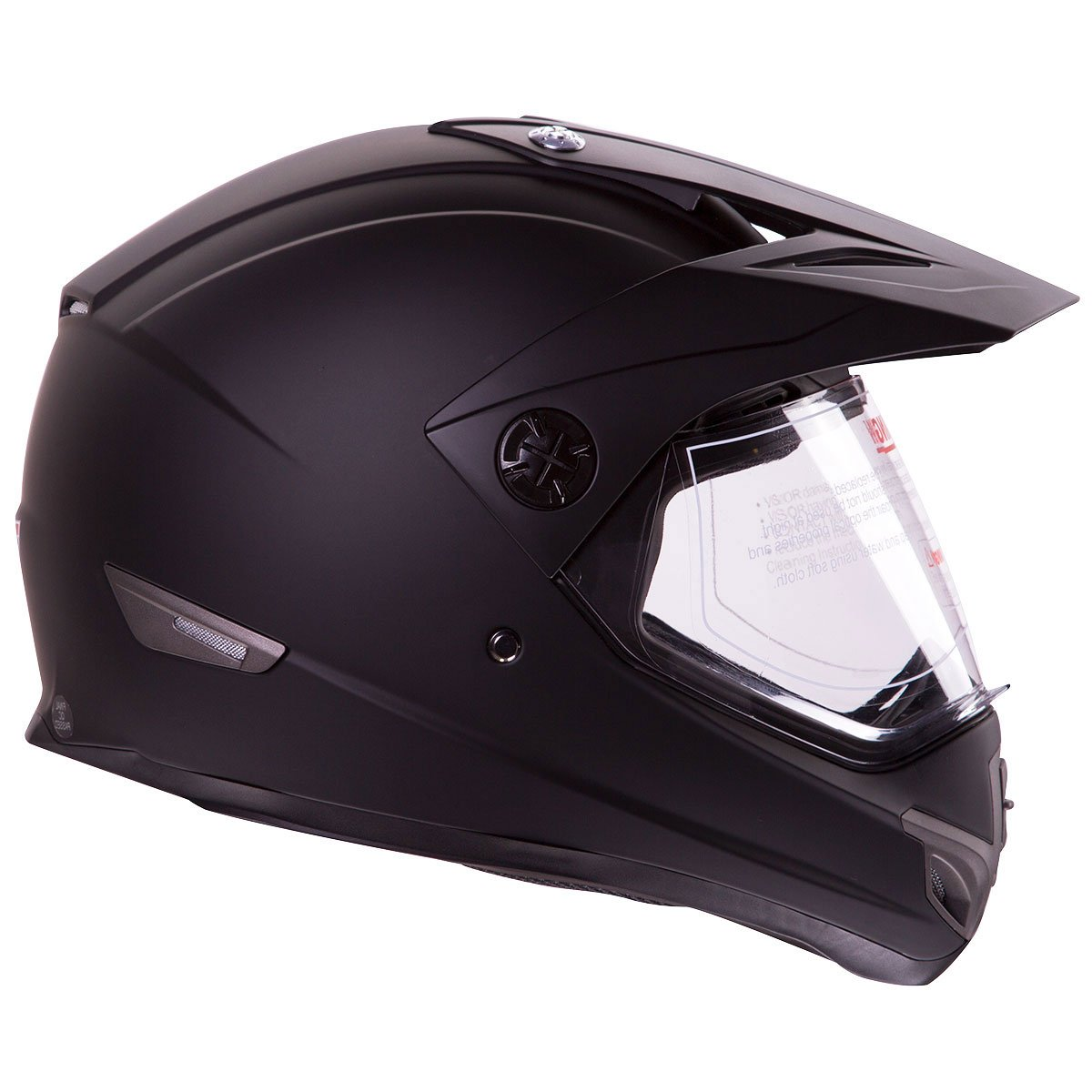 Amazon.com: Flat Black Dual Sport Atv Utv Motocross Street Bike Hybrid Helmet DOT (M): Automotive
