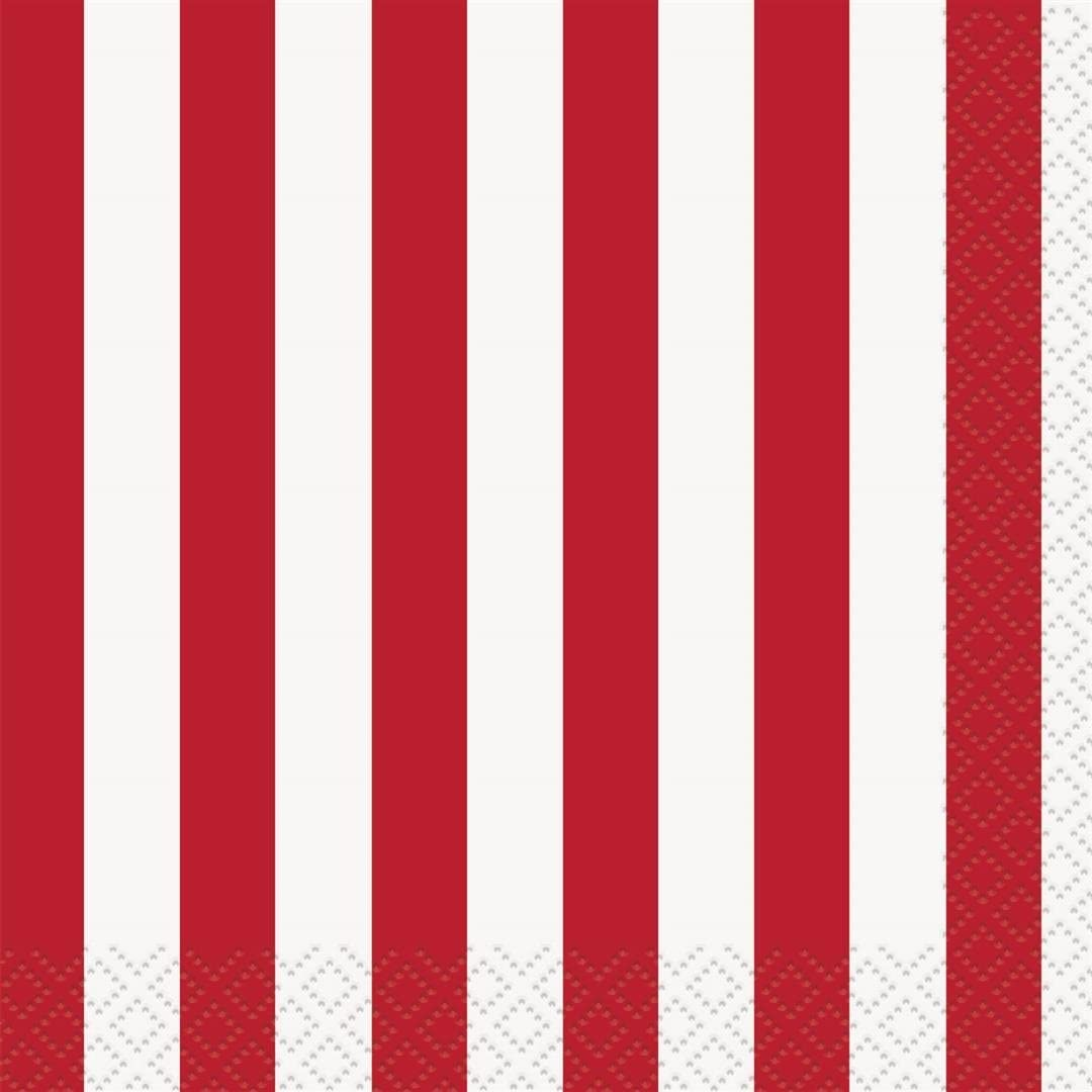 Red Striped Beverage Napkins, 16ct