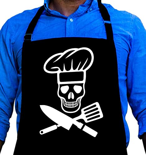 Sin in Linen Black Skull and Crossbones Kitchen Apron