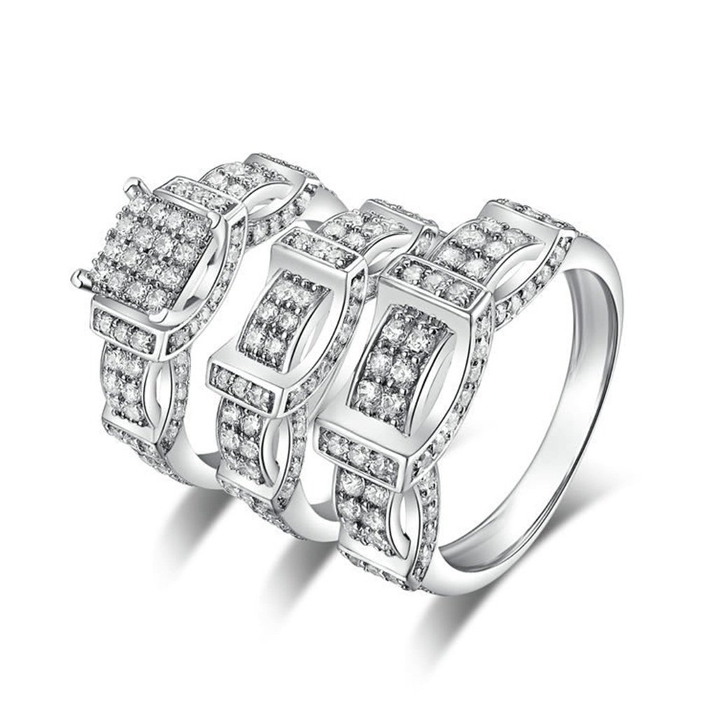 AmDxD Jewelry Silver Plated Men Promise Customizable Rings Belt CZ Ring Set Size 10