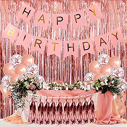 Party Decoration Favors Happy Birthday Decorations Rose Happy Birthday Bunting Banner with Shimmering Gold Letters Tissue Paper Pom Poms And Balloons and Star Balloon Party Decorations Supplies Happy Birthday Party Decoration New Pack