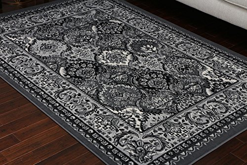 Rug Generations Rectangular Collection (Generations Collection 100% Olefin Grey Silver White Oriental Traditional Panal Persian Area Rugs Rug 8054grey 9' x 12'5)