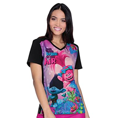 5c987f82524 Image Unavailable. Image not available for. Color: Cherokee Tooniforms  Women's V-Neck Contrast Back Trolls Print Scrub Top ...