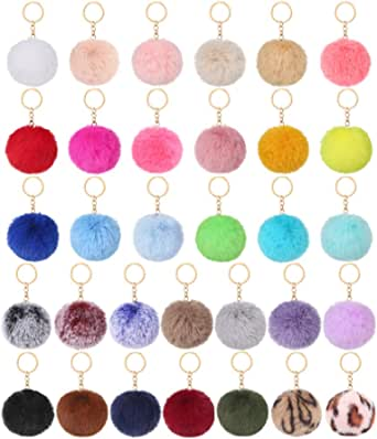 Auihiay 32 Pieces Pom Poms Keychain Fluffy Ball Key Chain Faux Rabbit Fur Pompoms Keyring for Girls Women