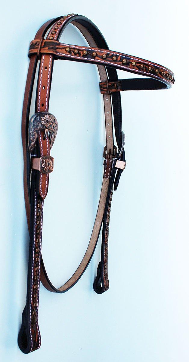 HorseサドルTack Bridle WesternレザーHeadstallブラウンロデオCarved 78169hb   B072M3M65K