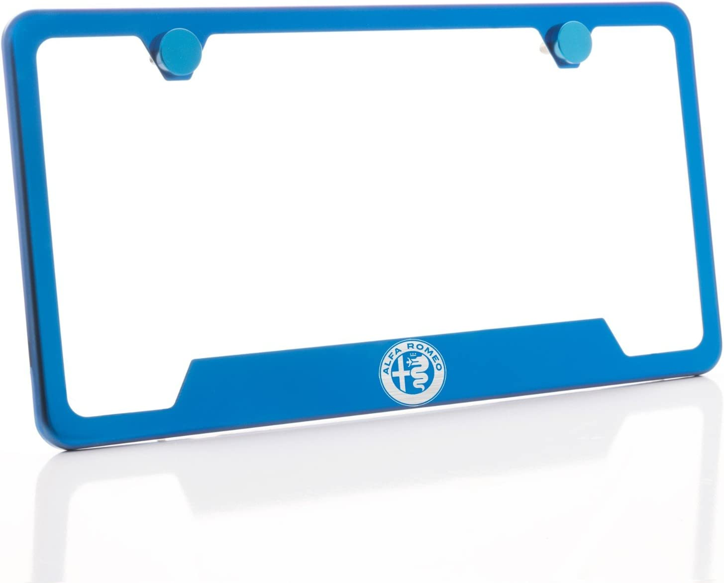 KA Depot One Fit Alfa Romeo Logo on Candy Blue Chrome Bottom Cut Out Stainless Steel License Plate Frame Holder Front Or Rear Bracket Laser Etch Engraved Aluminum Screw Cap