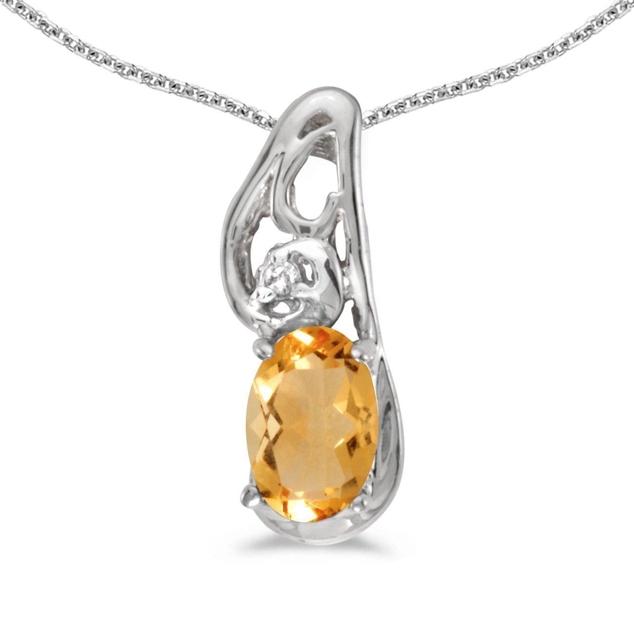 0.47 Cttw. FB Jewels Solid 10k White Gold Genuine Birthstone Oval Gemstone And Diamond Pendant