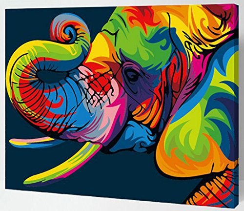 MailingArt Wooden Framed Paint By Number No Mixing / No Blending Canvas DIY Painting - Color Animals (Elephant)