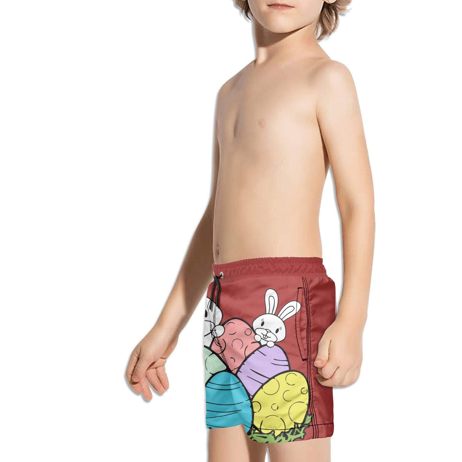 JIONONDS Happy Easter Bunny Kids Quick Dry Adjustable String Swim Shorts