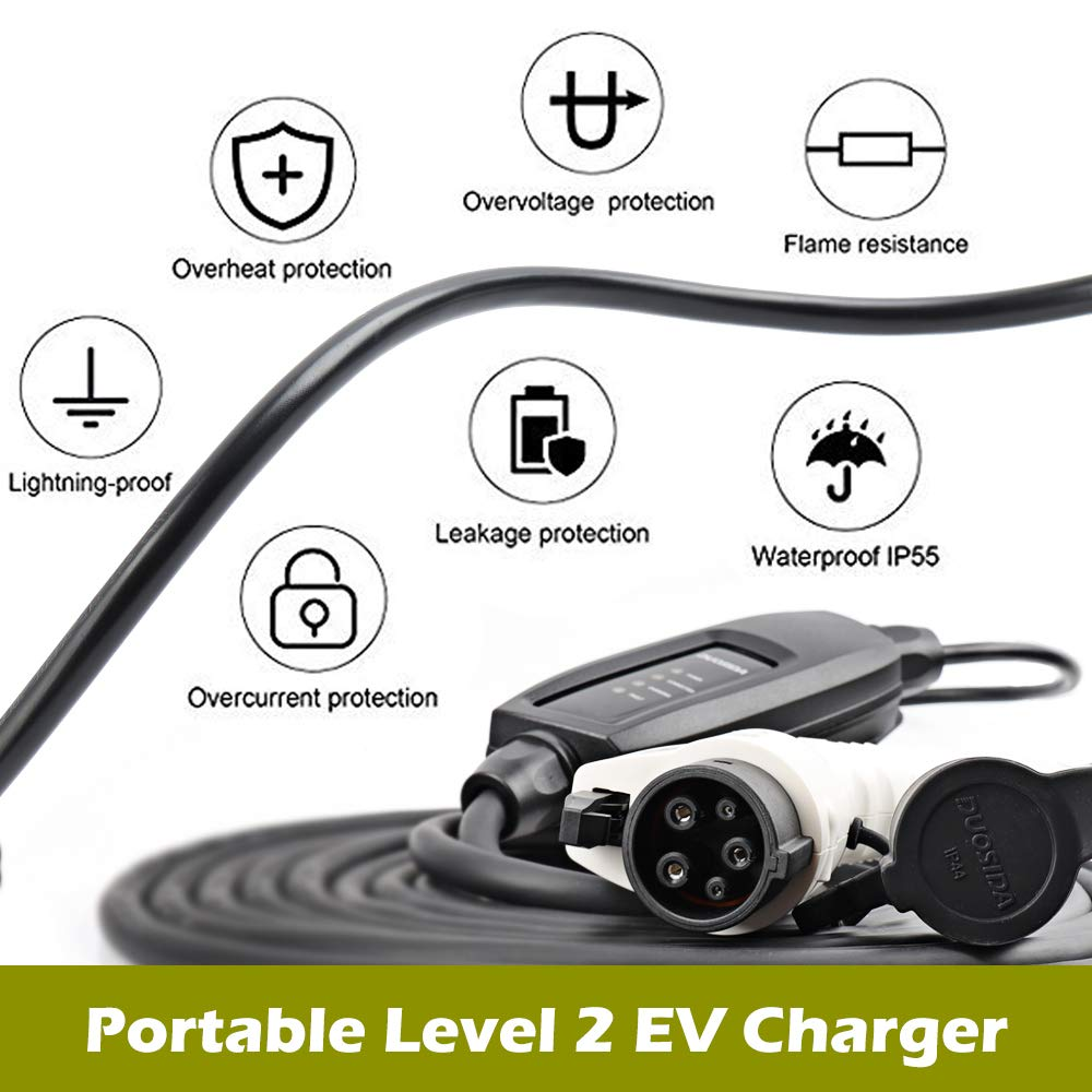 DUOSIDA Level 2 EVSE Portable Electric Vehicle Charger (240V, 16A) - Faster Charging Speeds by DUOSIDA (Image #4)