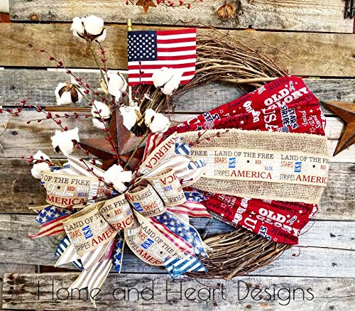 PATRIOTIC, 4TH OF JULY, INDEPENDENCE DAY, AMERICA, MILITARY, OLD GLORY, FREEDOM, FLAG, COTTON STEMS, SOUTHERN CHARM, TEXAS, RUSTIC, STAR, STARS AND STRIPES
