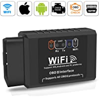 Wifi OBD2 Scanner Adapter,Qhui OBDII Diagnosegerät Elm327 W-lan Auto Diagnose Scanner Code Reader Check Engine für IOS Apple iPhone Android Windows ,3000 Code-Datenbank
