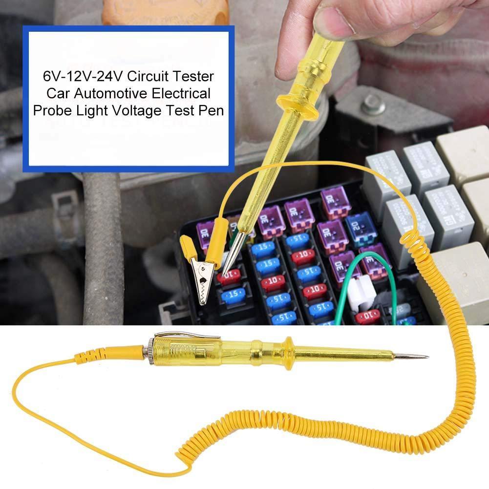 6V-12V-24V TU-113 Metal and Plastic Circuit Tester Car Automotive Electrical Probe Light Voltage Test Pen