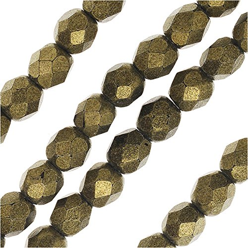 Glass, 4mm Faceted Round Beads, 50 Piece Strand, Metallic Gold Suede ()
