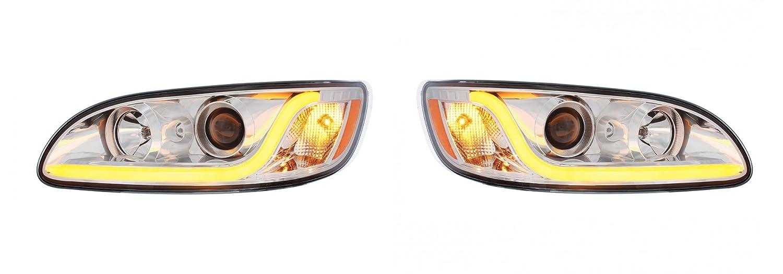 Amazon.com: Peterbilt 386 / 387 Projection Headlight with Chrome Trim -  Driver and Passenger: Automotive
