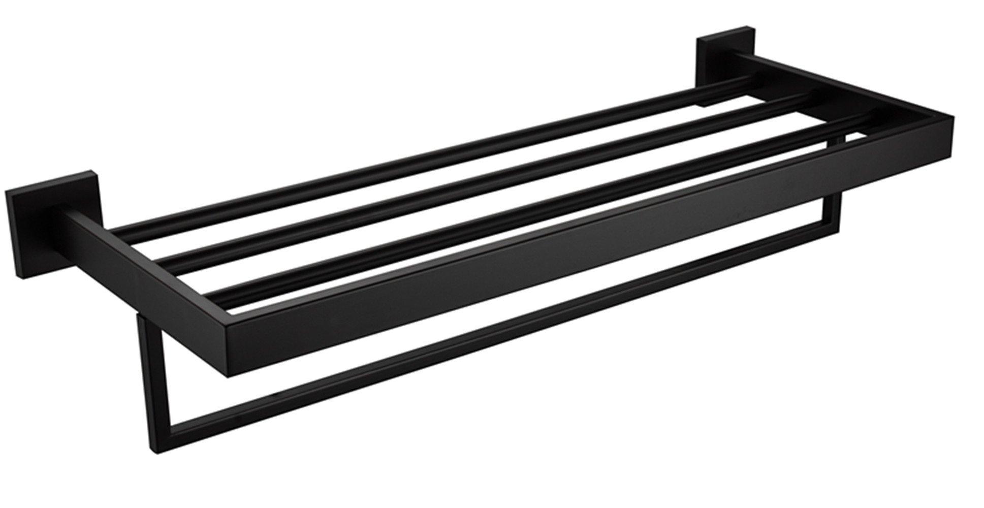 Turs Square Bathroom Bath Towel Rack with Single Towel Bar Wall Mount Shelf Rustproof Stainless Steel, Black