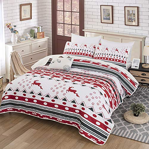 Christmas Quilt Set,Bedspread Christmas Deer Santa Rudolph Deer Reindeer Printed with 2 Pillowcases,Snowflake Coverlet Bed Cover Queen Size 90