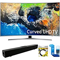 Samsung (UN49MU7500FXZA) 48.5 Curved 4K Ultra HD Smart LED TV (2017 Model) with Solo X3 Bluetooth Home Theater Sound Bar + 6ft HDMI Cable + Universal Screen Cleaner for LED TVs