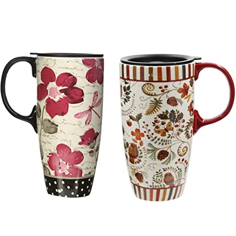 0f809e7939a Amazon.com: 17 oz Tall Ceramic Travel Mug Coffee Cup with Sealed Lid, set  of 2: Kitchen & Dining