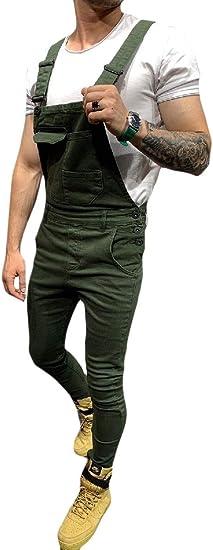 VITryst メンズビブパンツ 迷彩ジャンプスーツ スリムフィッティング デニム ロングパンツ 全体的