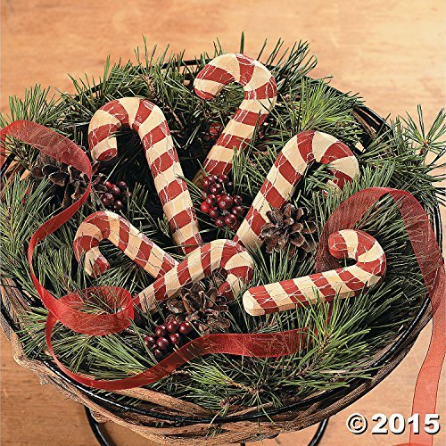 Wood Carved & Painted Candy Canes, Rustic Christmas Decoration, 6 Canes
