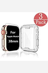[3-Pack] Case Compatible Apple Watch Series 2 / Series 3 Screen Protector 38mm, iWatch Overall Protective Case TPU HD Clear Ultra-Thin Cover Compatible Series 2/3 (38mm) Wireless Phone Accessory