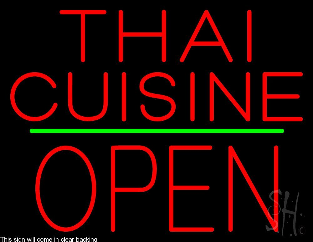 Thai Cuisine Block Open Green Line Clear Backing Neon Sign 24'' Tall x 31'' Wide