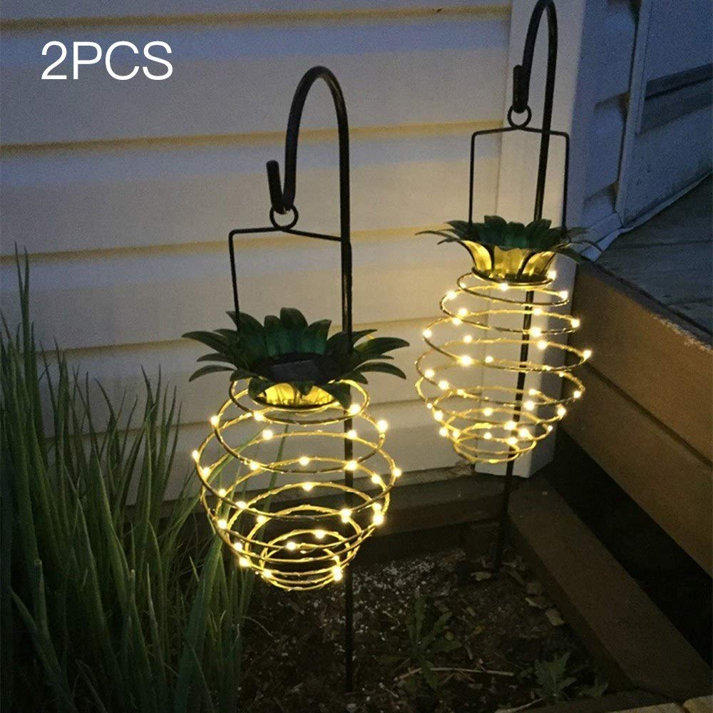 J6Mall DC2V 0.08W 25LED Pineapple Design Solar Powered Energy Hanging Fairy Light Outdoor Lamp 2 Pack IP56 Water Resistance Warm White for Yard Garden by J6Mall