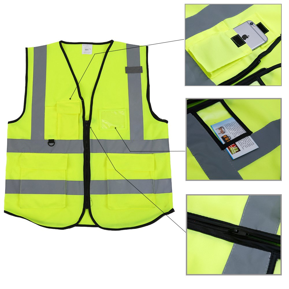 ZOJO High Visibility Reflective Vests,Lightweight Mesh Fabric, Wholesale Safety Vest for Outdoor Works, Cycling, Jogging,Walking,Sports-Fits for Men and Women (Pack of 10, Neon Yellow) by zojo (Image #4)