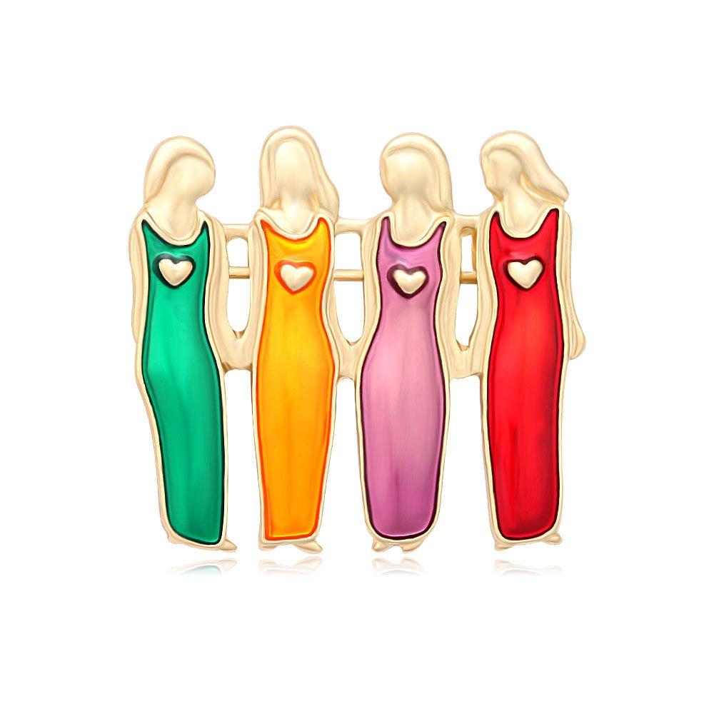 MANZHEN Enamel Four Sisters 4 Best Friends Brooch Pins Family Brooch (gold)