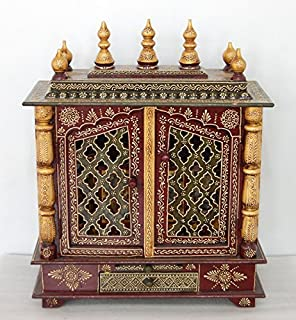 LifeEstyle-com Mango Wood and Mdf Handpainted Home Temple with Doors (60x30x75cm, Multicolour)