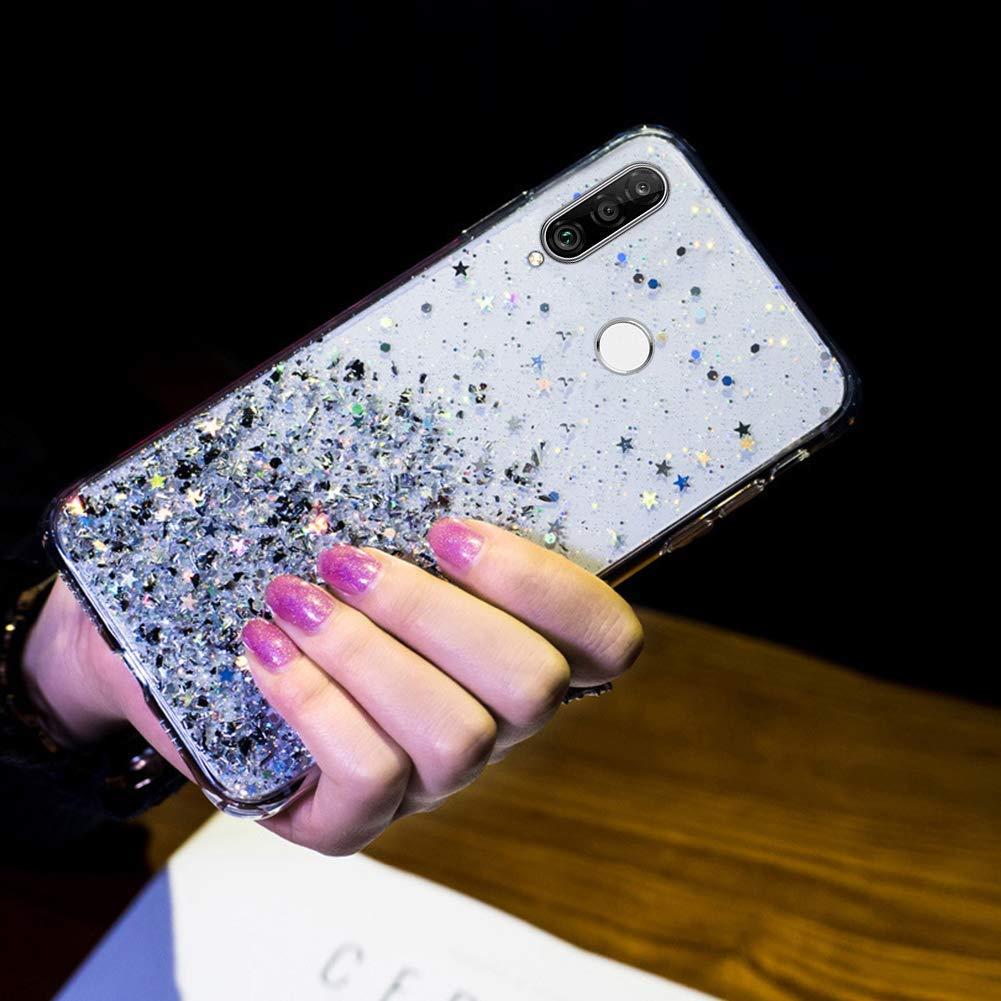 Saceebe Compatible avec Huawei P30 Lite Coque Silicone Paillette Strass Brillante Bling Glitter /Étoile Fille Femmes Housse Transparente TPU Souple Etui Mince Cristal Cover Anti-Choc,Rose