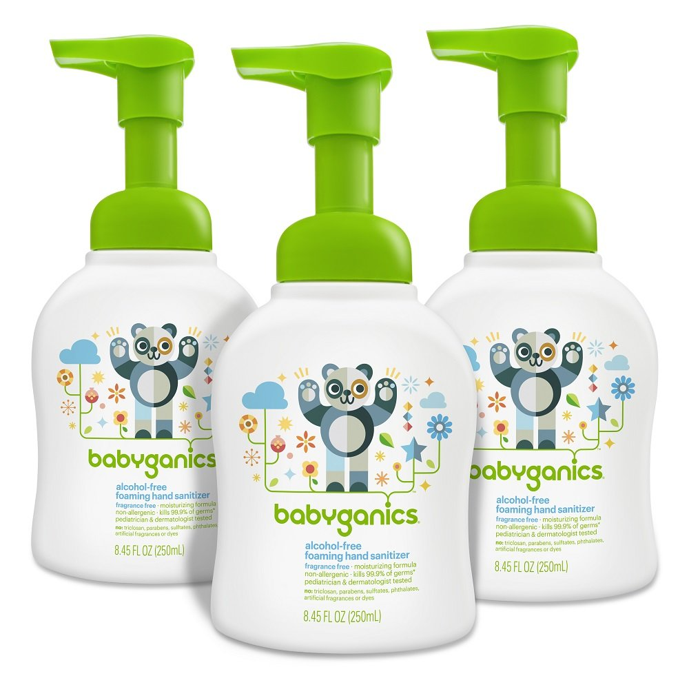 Babyganics Alcohol-Free Foaming Hand Sanitizer, Fragrance Free, 8.45oz Pump Bottle (Pack of 3)