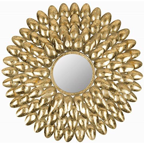 Safavieh Home Collection Royal Leaf Sunburst Mirror, Antique Gold (Transitional Forged Leaf)