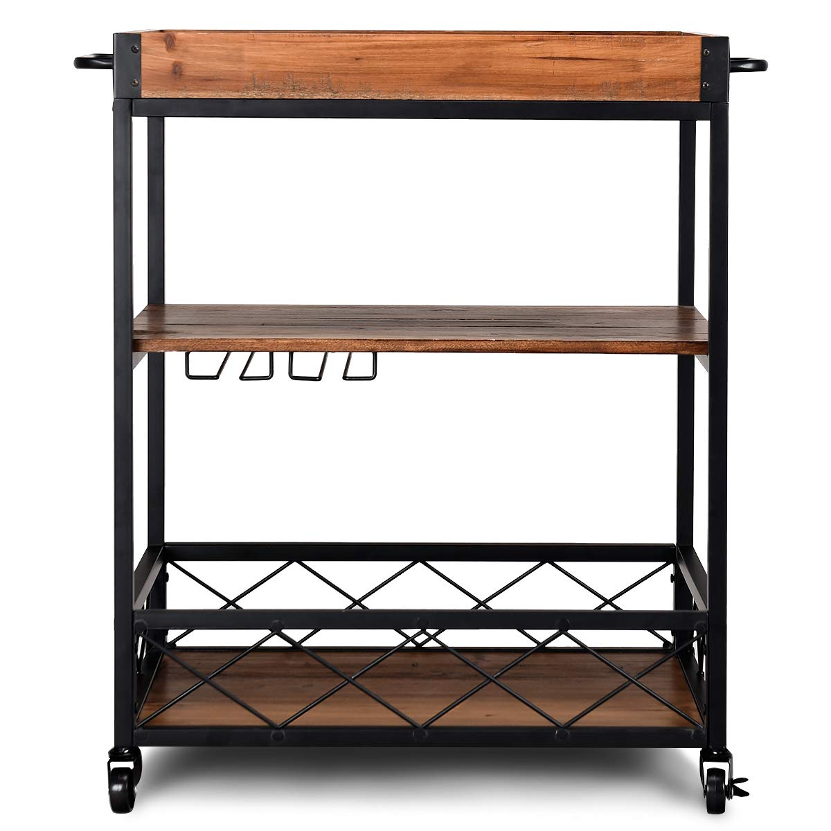 Giantex Kitchen Trolley Cart Island Rolling Serving Carts Utility Cart 3 Tier Storage Shelf with Glass Holde, Handle Racks, Lockable Caster Wheels Kitchen Carts Islands w/Removable Wood Box Container by Giantex (Image #9)