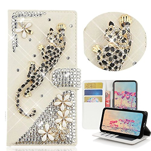 STENES iPhone 8 Plus Case - Stylish - 3D Handmade Bling Crystal Leopard Flowers Desgin Wallet Credit Card Slots Fold Media Stand Leather Case for iPhone 7 Plus/iPhone 8 Plus - Gold