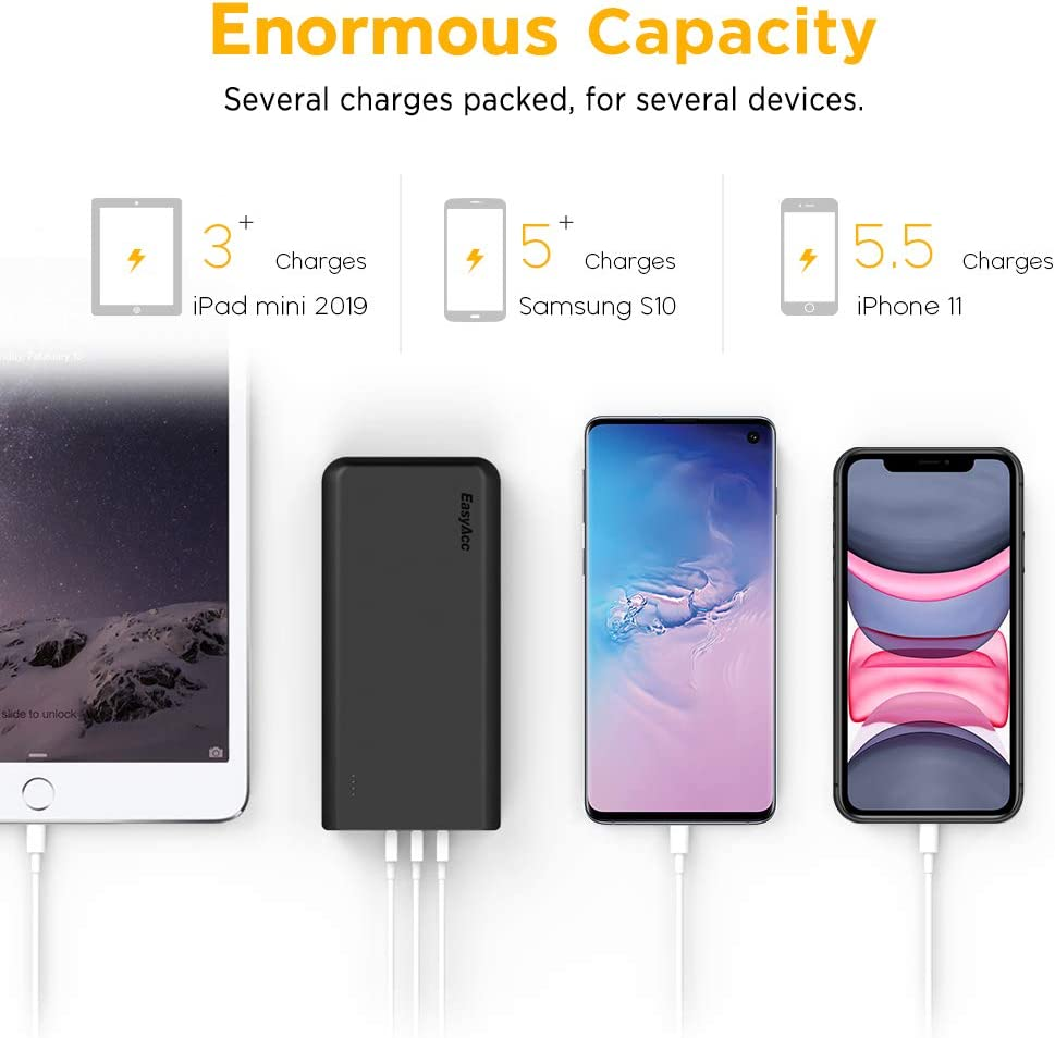 External Battery Charger Portable Charger for Android Phone Samsung HTC Tablets EasyAcc 26000mAh Power Bank Black and Grey 4A Input 4.8A Smart Output