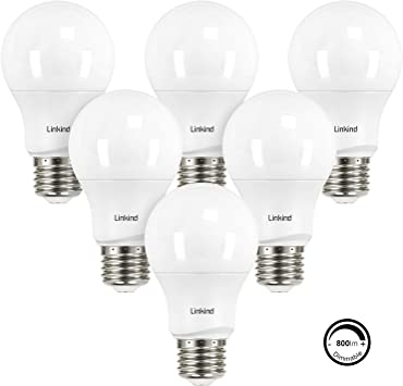 Linkind Dimmable A19 LED Light Bulbs, 60W Equivalent, E26 Base, 5000K Daylight, 9.5W 800 Lumens 120V, UL Listed FCC Certified, Energy Star, Pack of 6