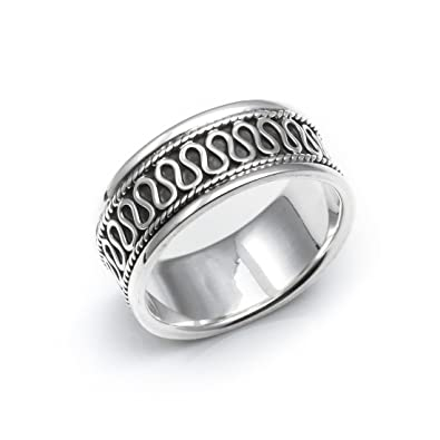 Silverly Women's Men's .925 Sterling Silver Rope Scroll Work Bali Thick 15.3mm Thumb Ring QdXzgPkh2