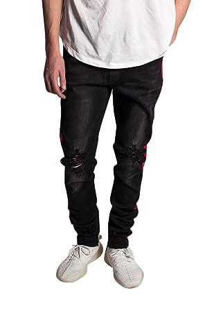 d9dcbba63c7 KDNK Men s Tapered Skinny Fit Stretch Denim Ankle Zip Striped Track Jeans ( 30