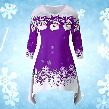 Binggong bożonarodzeniowy sweter Xmas nadruk sweter kobieta asymetryczny długi rękaw świąteczny motyw na Boże Narodzenie sukienka na imprezę koszula, m: Artykuły dla zwierząt