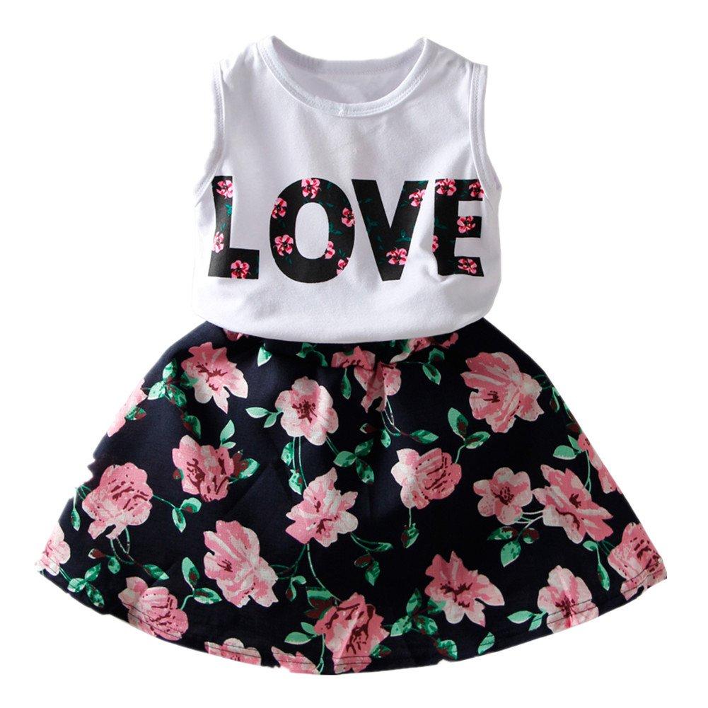 LittleSpring Little Girls' Skirt Set Flower Love Size 4T Navy