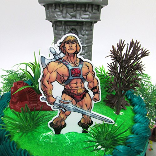 Masters Of The Universe HE MAN Themed Birthday Cake Topper Set Featuring He Man And Decorative Them