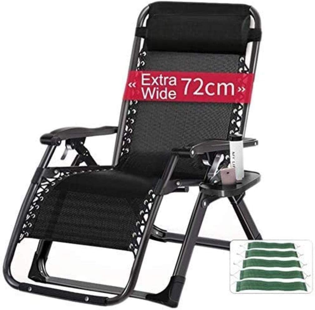 chair Comfortable Recliner Terrace Foldable Adjustable Recliner Outdoor Office Beach Recliner Wide Patio Lounger Support 440lbs (Color : with 4D Breathable mat),Colour:Without Cushion