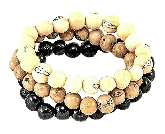 Amazon.com: Acai Berry Stackables Stretch Bracelets by Organic Tagua Jewelry Set of 3 (Multi Colors): Jewelry